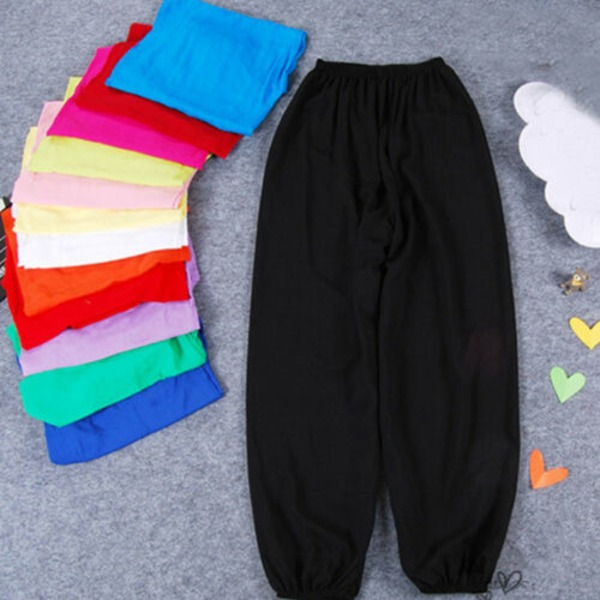 Girl Harem Byxor Sport Causal Plain Pants Baggy Soft Leggings black 100cm