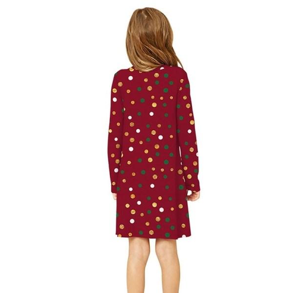 Girl Lovely Christmas Print Dress Kid Long