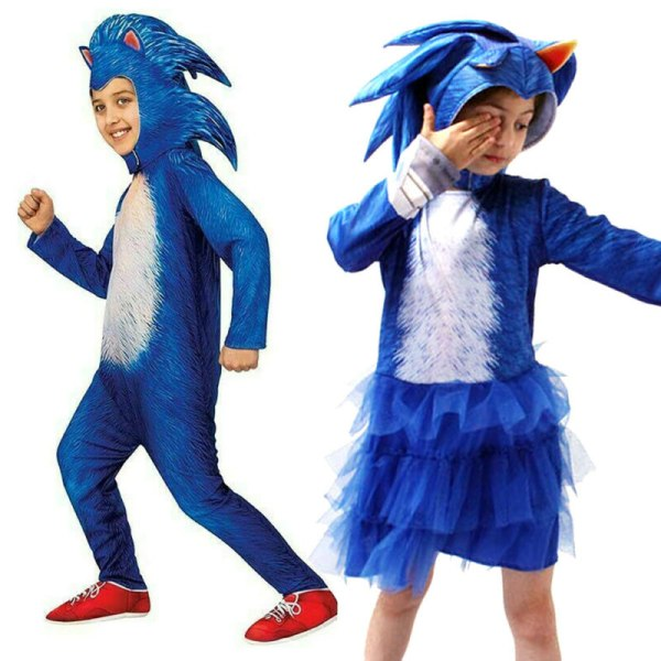 Tjejpojkar Sonic The Hedgehog Jumpsuit Cosplay Costume Wear Hat Boy Blue 5-6Years
