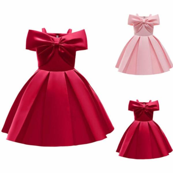 Flickor Off Shoulder Dress Brudformella klänningar Prinsessa klänningar Red 9-10Y