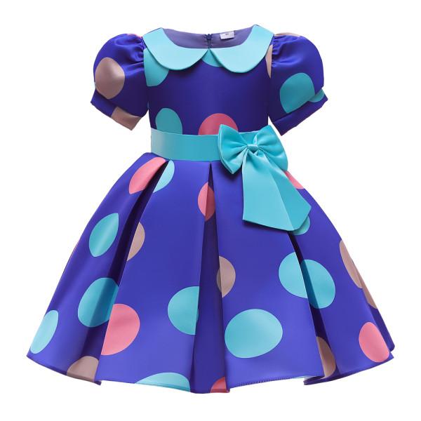 Flickor Prinsessan Knytknut Polka Dot Swing Dress Barnpartyklänningar Blue 6-7Y