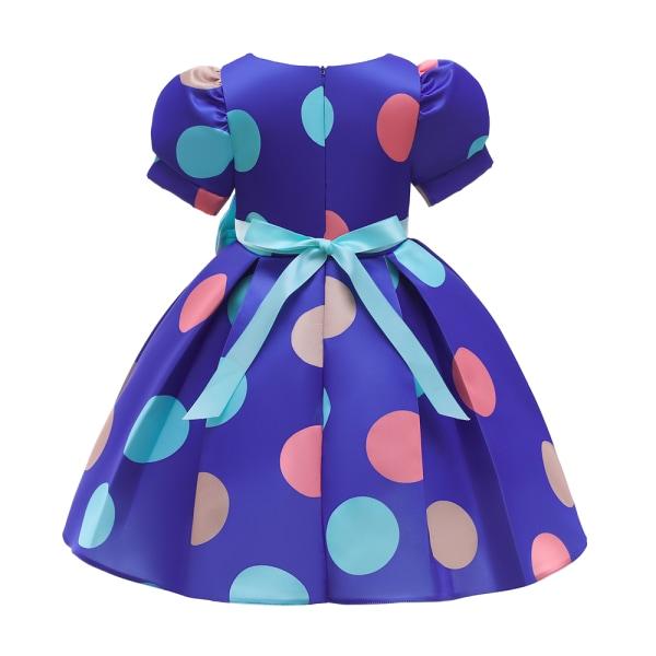 Flickor Prinsessan Knytknut Polka Dot Swing Dress Barnpartyklänningar Blue 9-10Y