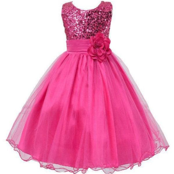 Flickor Paljetter Holiday Fancy Dress Party Brudtärneklänning rose red 110cm