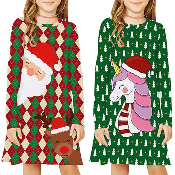 Flickor Xmas Barn Långärmad Santa Print Julklänning Pyjamas