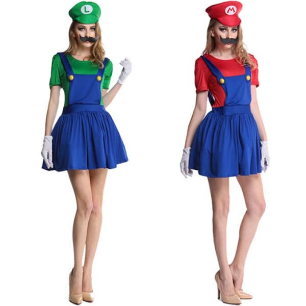Män Kvinnor Super Mario Fancy Dress Cosplay Festival Kostymer woman-red l