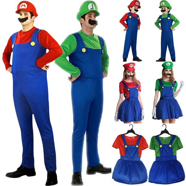 Män Kvinnor Super Mario Fancy Dress Cosplay Festival Kostymer boy-red s
