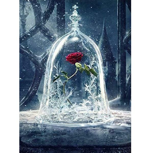 Heminredning 5D borr diamantmålning rosor i glasbroderi