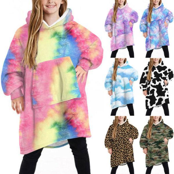 Kid Boy Girls Sweatshirt Oversized Hoodie filt mjuk varm rock Purple Blue