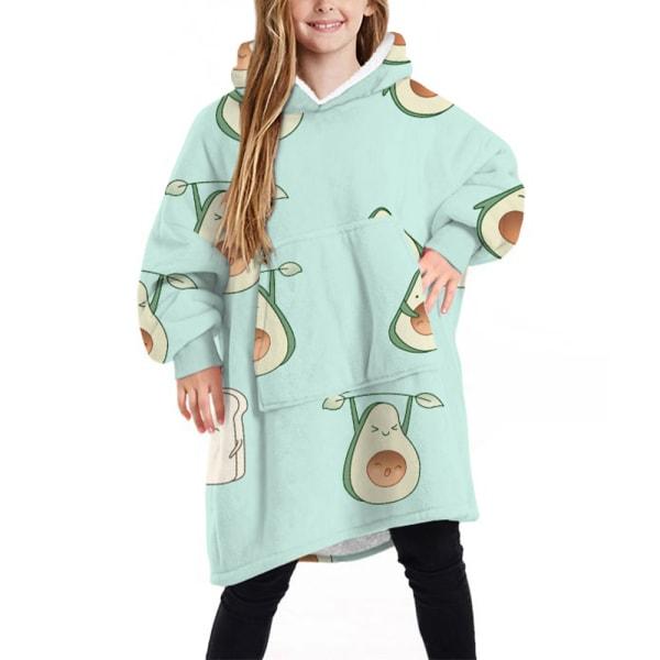 Kid Barnfilt Sweatshirt Mjuk varm filt Hoodie Vinter Avocado