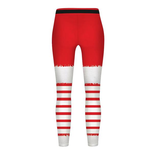 Kid Girl Xmas Christmas Legging Santa Tryckt byxa sportbyxa white L