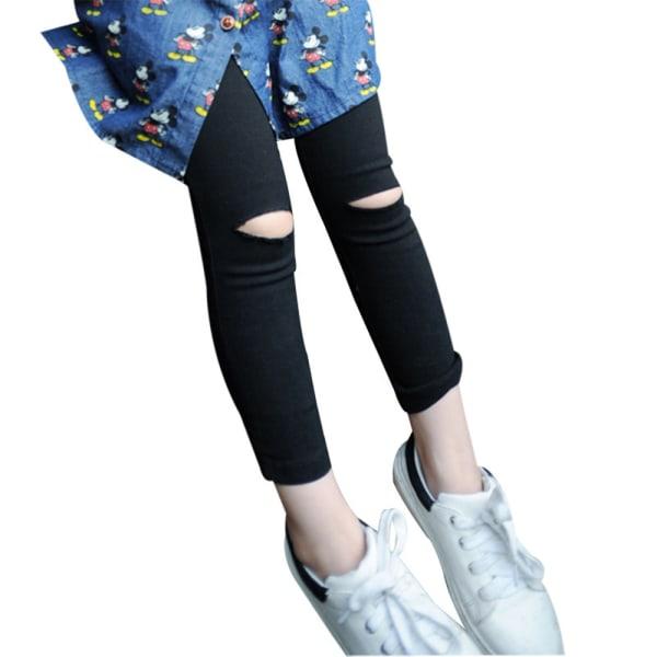 Kid Girls Casual Black Skinny Ripped Byxa mjuka byxor Leggings black 92-98cm