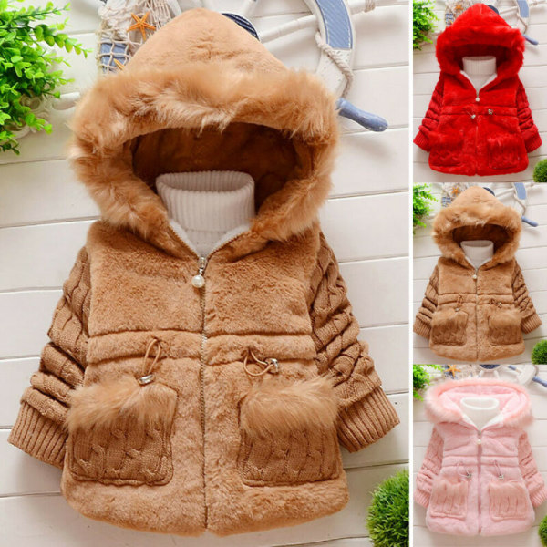 Kid Girls Winter Plain Coat Casual Baby Chunky Warm Ytterwear Red 4-5 Years