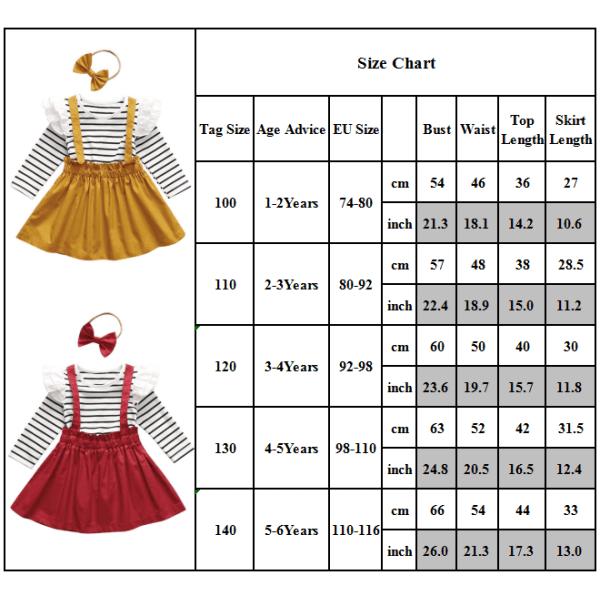 Barn baby flickor långärmad outfit T-shirt kjol huvudband set Yellow 4-5 Years