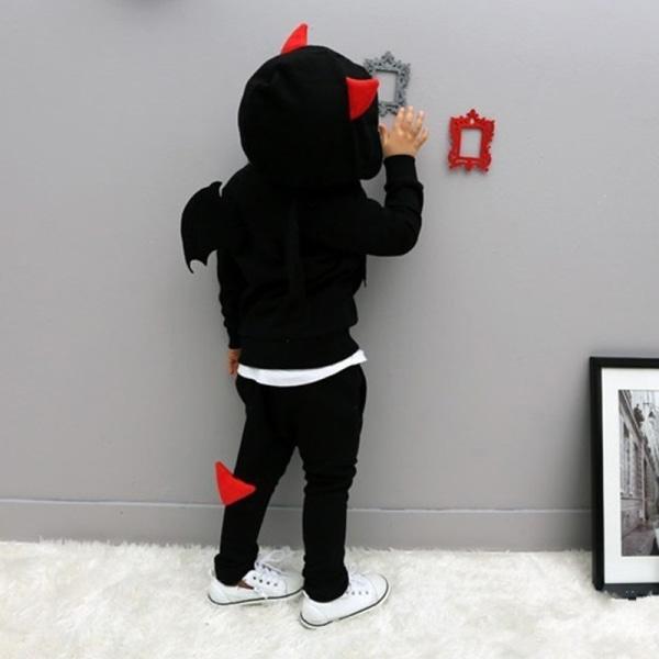 Barnpojkar Halloween Devil Wings Hoody Toppar + byxor Set träningsoverall black 110 cm
