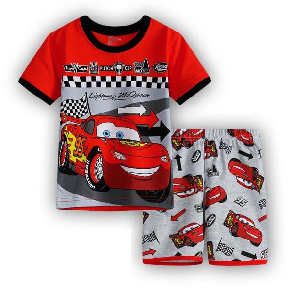 Barnpojkar Pyjamas Set Cartoon T-shirt Shorts Nightwear Outfit Lightning McQueen 110cm