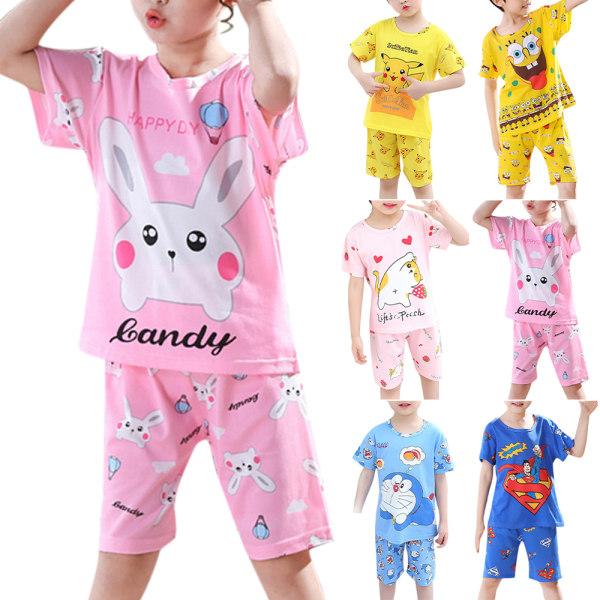 Barn Barn Casual Tecknad hemtjänst Kortärmad pyjamas Superman 80-92cm