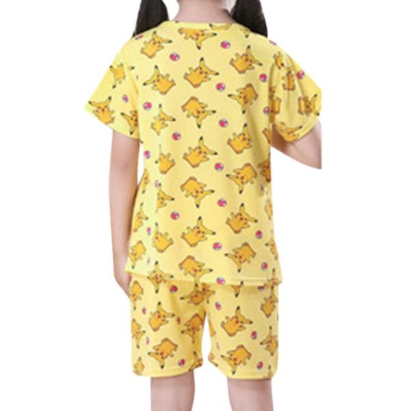 Barn Barn Fritid Tecknat Kortärmad hemkläder Pyjamas Yellow Pikachu 122-128cm