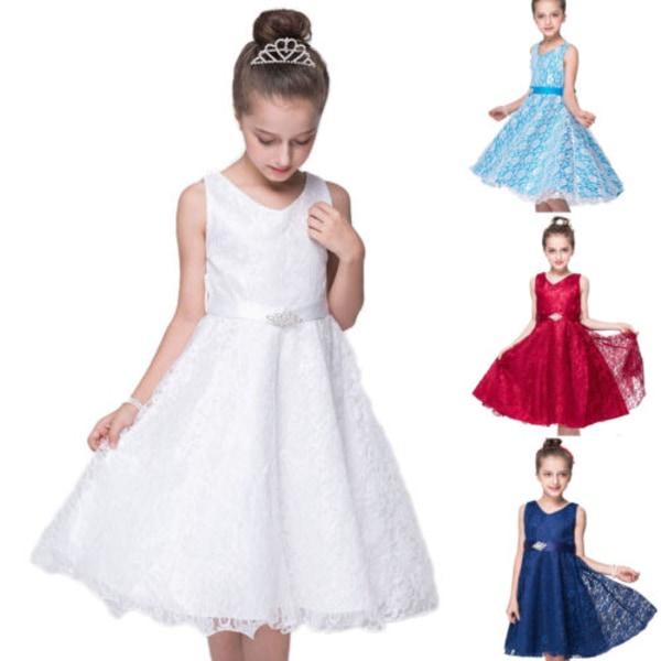 Kids Flower Girls Party Lace Long Dress Formella bröllopsklänningar white 8-9Years