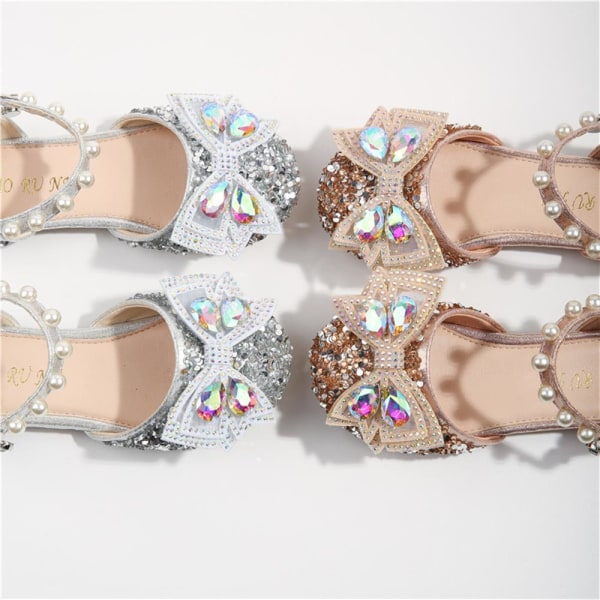 Barn Flicka Crystal Bowknot Bling Princess Paljetter Skor Sandaler Champagne 26