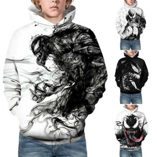 Barnflickor Pojkar 3D Venom Långärmad Pullover Hoodies Sweats Diamond 9-10 Years