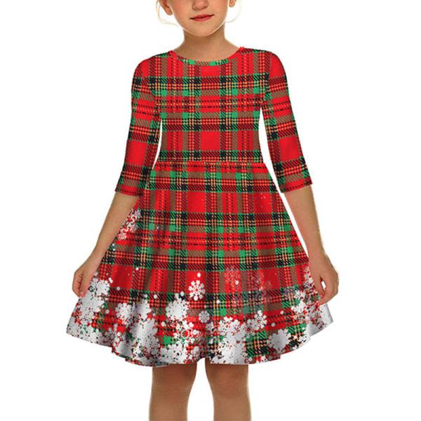 Kids Girls Christmas Xmas Party 3D Snowflake Print A-line Dress red L