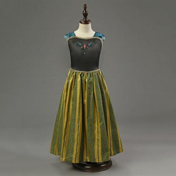 Kids Girls Frozen Princess Queen Anna Tutu Dress Sommarklänning green 110cm