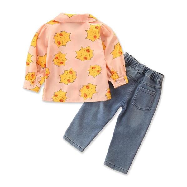 Barnflickor långärmad skjorta + Blue Jeans Denim Pant Byxa Set Shirt + Pant 4 - 5 Years