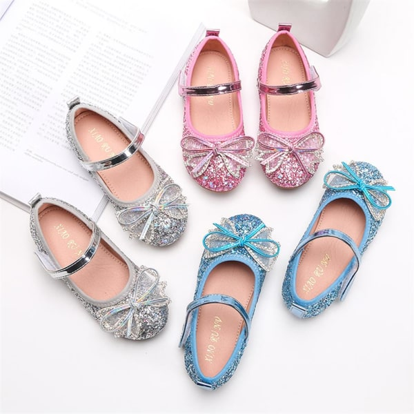 Barnflickor Paljetterade kristallsandaler Bow Bankett Princess Shoes Silver 24