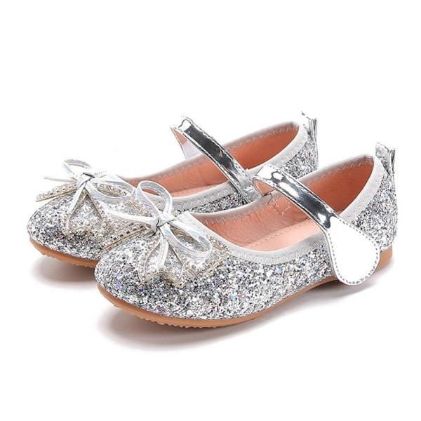 Barnflickor Paljetterade kristallsandaler Bow Bankett Princess Shoes Silver 30
