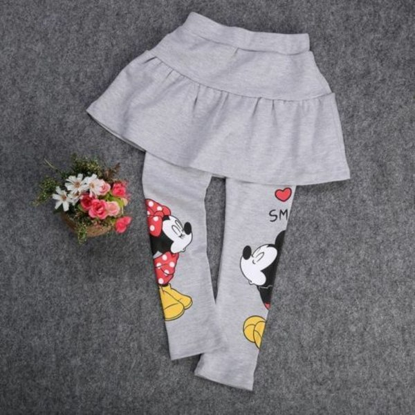 Barnflickor Vinter Mickey Minnie Mouse Leggings kjolbyxor black 120cm