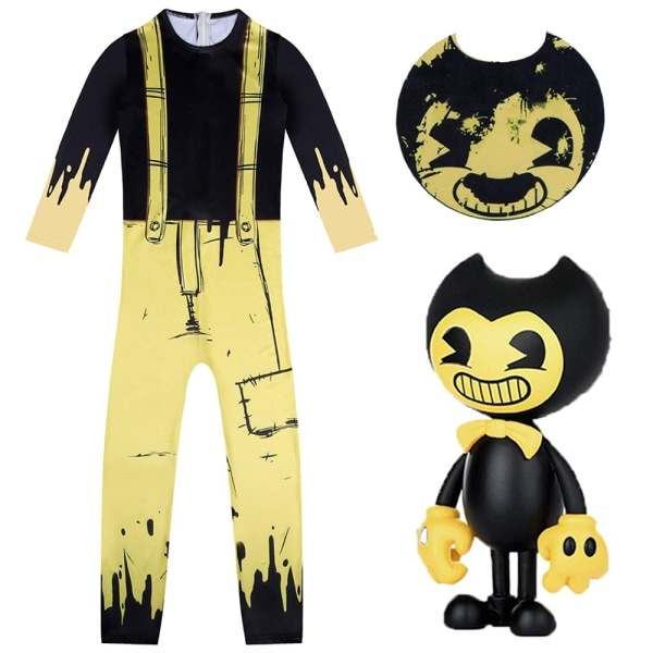 Kid Bendy and the Ink Machine Costume Cosplay Jumpsuit Mask Prop 160Y