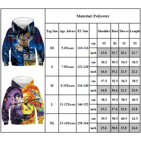Unisex 3D Print Anime DBZ Novelty Hoodie Coat Sweatshirt för barn Purple+Yellow 13-14 Years