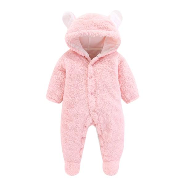 Nyfödd baby pojkar flickor vinter huva Romper Jumpsuit kläder Grey 0-3 Months