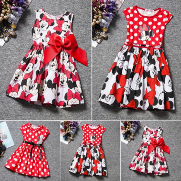 Kid Baby Girls Cartoon Minnie Mouse Bowknot Princess Dress Party B 80cm