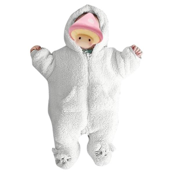 Nyfödd pojkeflicka Kids Romper Jumpsuit Bodysuit Outfits med huva White 3-6 Months