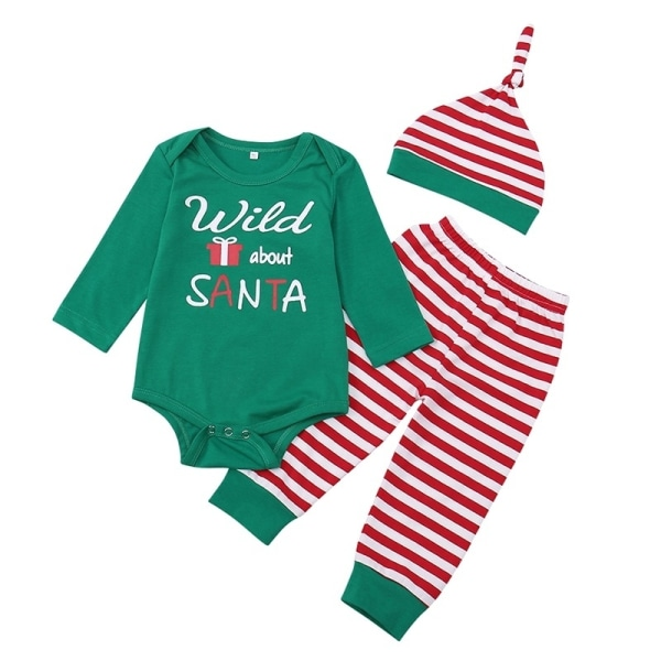 Nyfödda spädbarn behandla som ett barn flickakläder Santa Claus green 70 cm