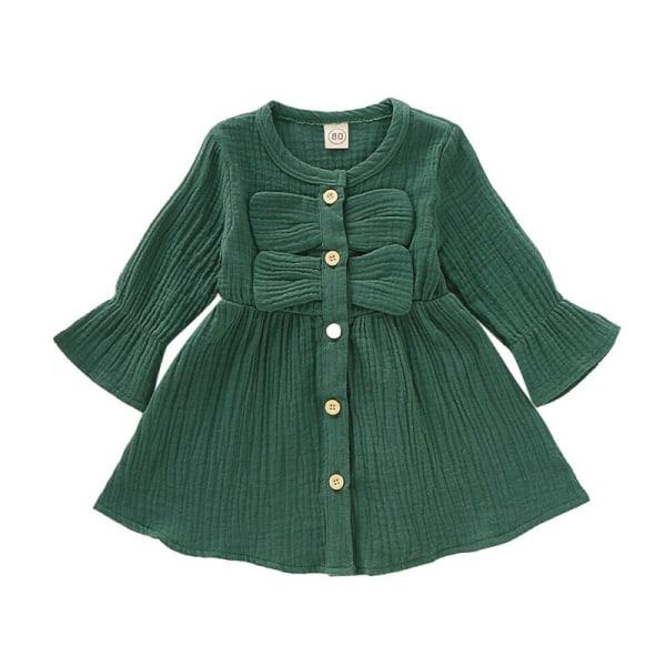 Princess Girl's Kids Casual Födelsedagsfest Solid A-line klänning Green 18-24 M