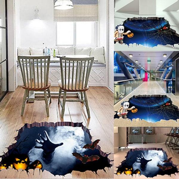 Halloween 3D-klistermärke Vägggolv Dekal Bat Mural Party Home Decor As pics1