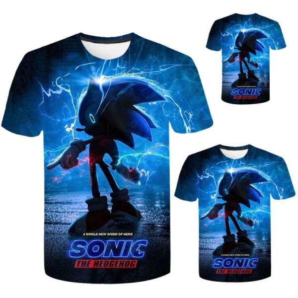 Sonic The Hedgehog Kids Boy 3D Printed Kortärmad Casual Toppar Blue 5-6 Years