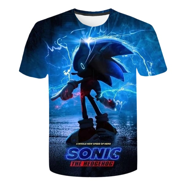 Sonic The Hedgehog Kids Boy 3D Printed Kortärmad Casual Toppar Blue 7-8 Years