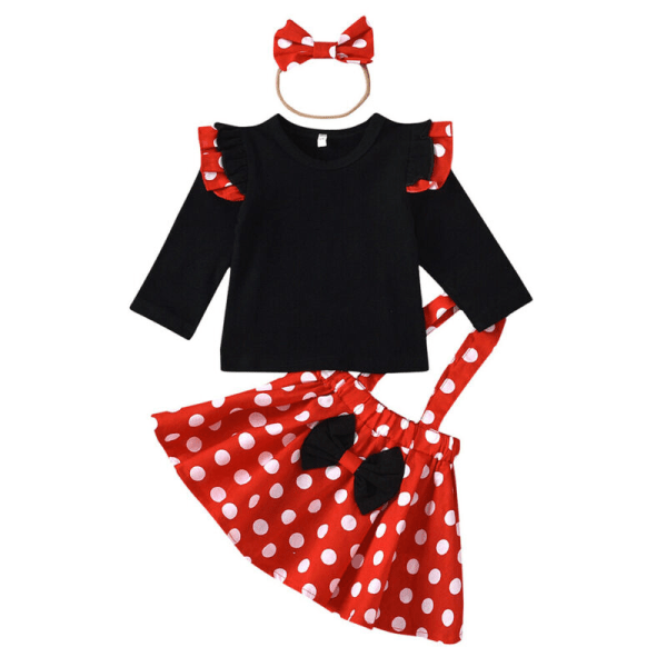 Småbarn Träningsdräkt Set Polka Dot Top Kjol Pannband Outfits 3-6 Months
