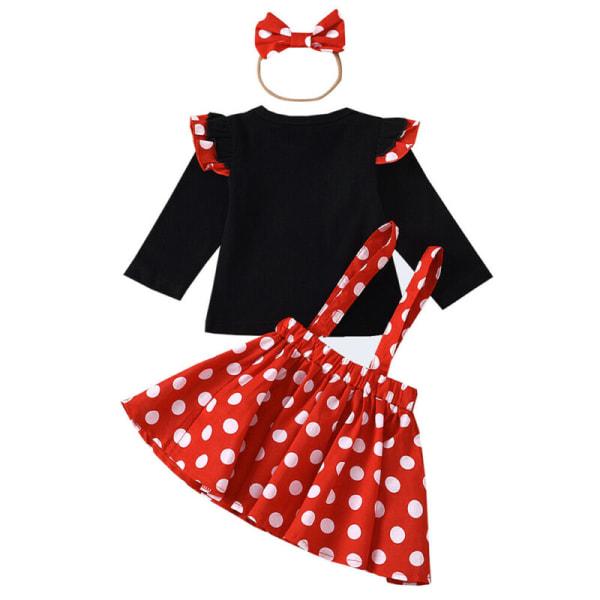 Småbarn Träningsdräkt Set Polka Dot Top Kjol Pannband Outfits 3-4 Years