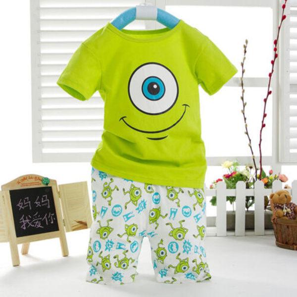 Småbarn Barnpojkar Tecknade Toppar T-shirt Byxor Shorts Outfits Set 90cm
