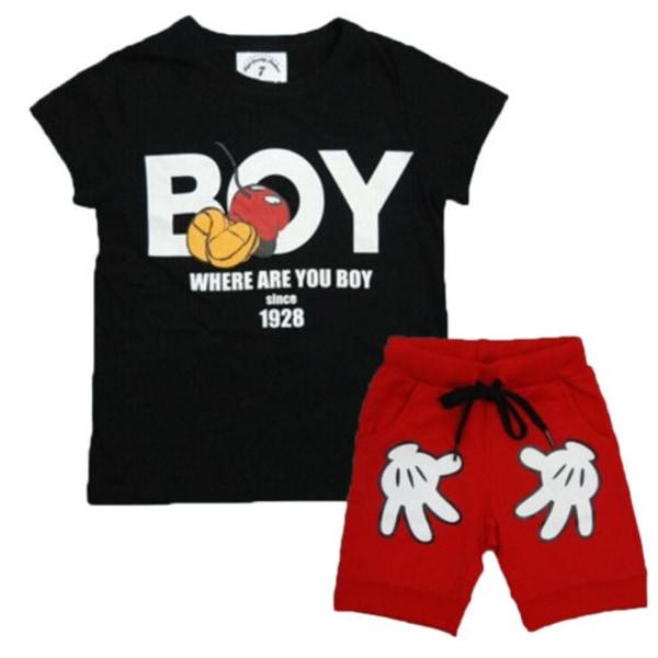 Småbarn Pojkar Casual Outfits Toppar + Korta byxor Kläduppsättning black&red 120cm