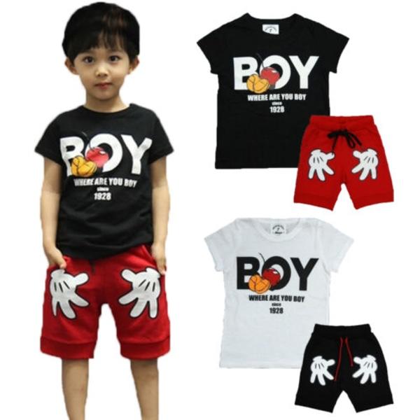 Småbarn Pojkar Casual Outfits Toppar + Korta byxor Kläduppsättning black&red 130cm