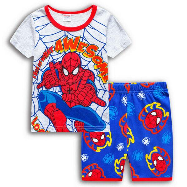 Småbarn Pojkar Spiderman Superhjälte Pyjamas T-shirt Shorts White&Blue 4-5 Years