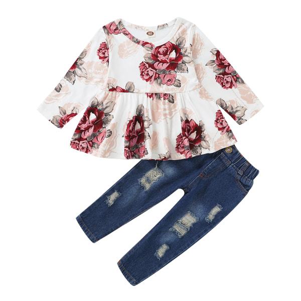 Småbarn Barnflicka Blommig klänning Denim Jeans Set Casual kläder Floral 24-36 Months