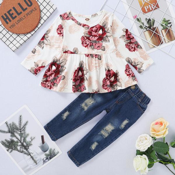 Småbarn Barnflicka Blommig klänning Denim Jeans Set Casual kläder Floral 12-18 Months