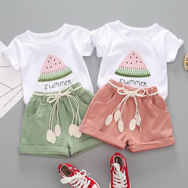 Tvådelad barnflicka vattenmelon tryckt kortärmad kostym
