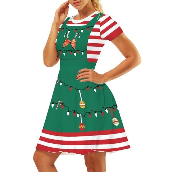 Unikt tryckt julklänning Damflickamode stripe XL
